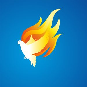A square image of a dove with wings of flames on a blue background
